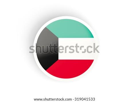 Round sticker with flag of kuwait isolated on white - stock photo