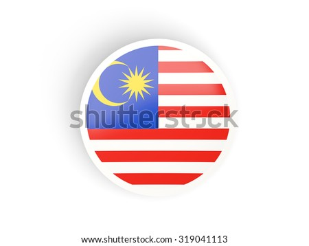 Round sticker with flag of malaysia isolated on white - stock photo