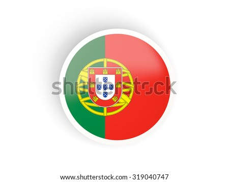 Round sticker with flag of portugal isolated on white - stock photo