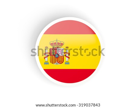 Round sticker with flag of spain isolated on white - stock photo