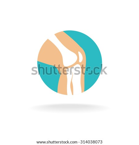 Round symbol of knee joint bones for orthopedic purposes. - stock photo