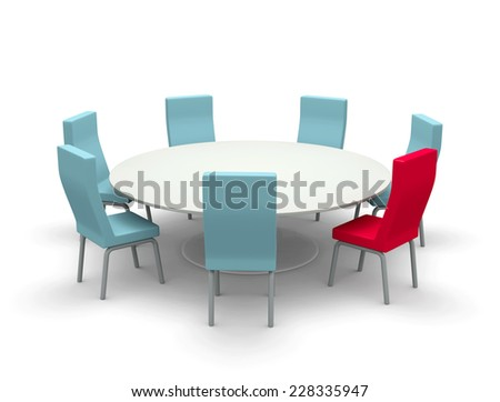 Round table and chairs - stock photo