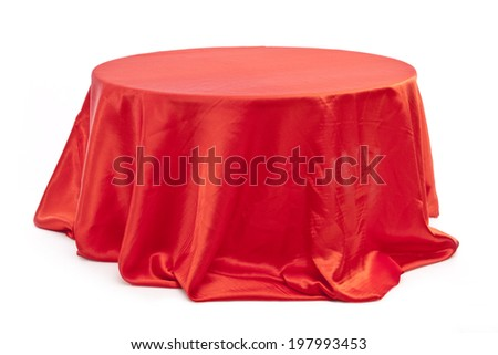 Round table with red cloth  on white background.  - stock photo
