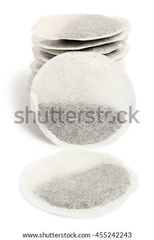 Round Tea Bags. Isolated with clipping path. - stock photo