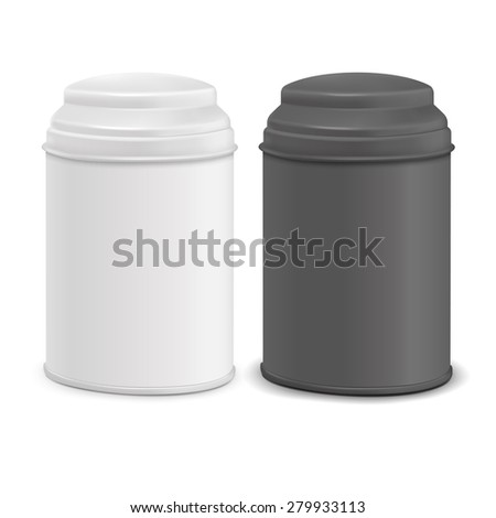 round tin packaging set in white and black isolated on white background - stock photo