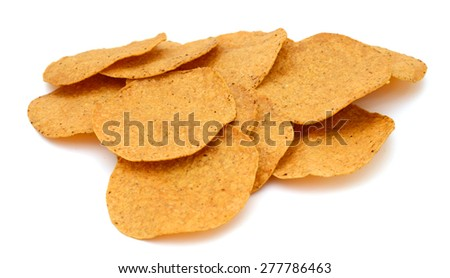 round tortilla chips isolated on white  - stock photo