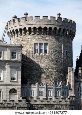 Round tower of Dublin Castle, Ireland - stock photo
