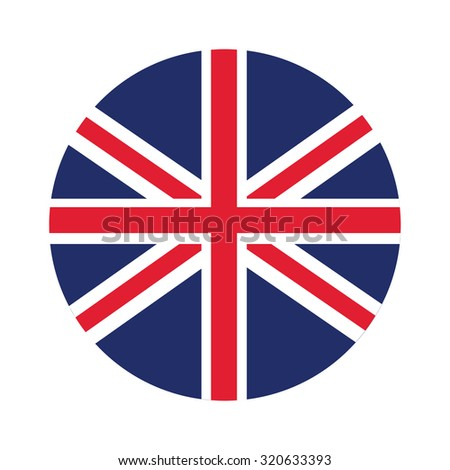 Round united kingdom flag raster icon isolated, united kingdom flag button - stock photo