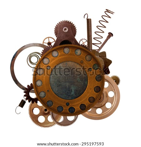 Round vignette with copper details - stock photo