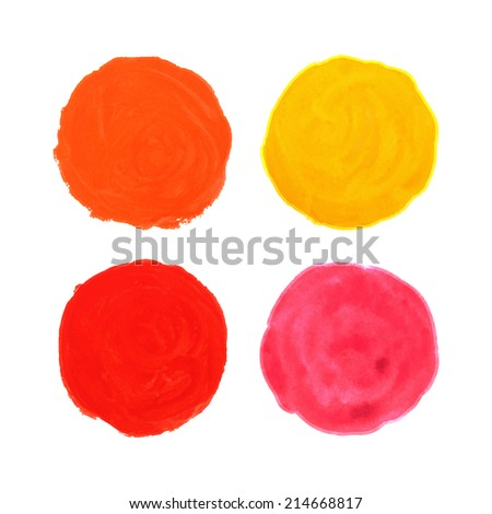 Round watercolor stains. Banners - stock photo
