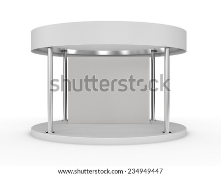 round white booth for customizing. render - stock photo