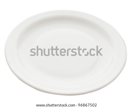 round white plate on white - stock photo