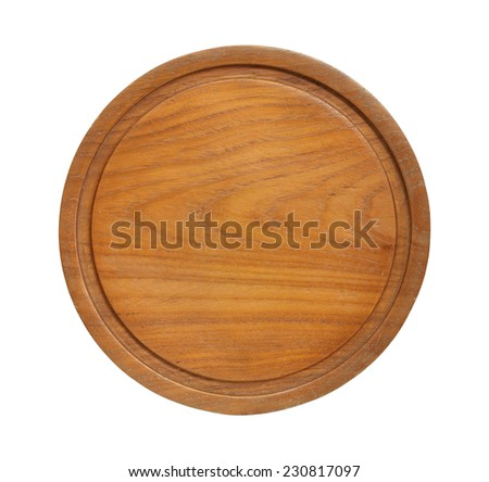 Round wooden cutting board isolated on white background - stock photo