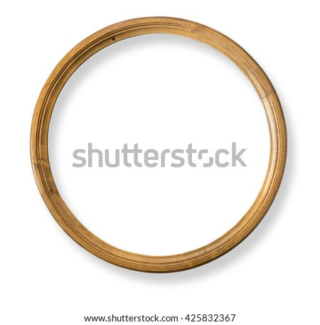 Round wooden frame isolated with clipping path - stock photo
