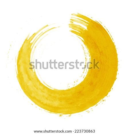 Round yellow brush stroke - stock photo