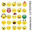 round yellow icons depicting various human emotions. - stock photo