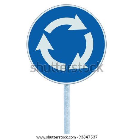 Roundabout crossroad road traffic sign isolated, blue, white arrows left hand - stock photo