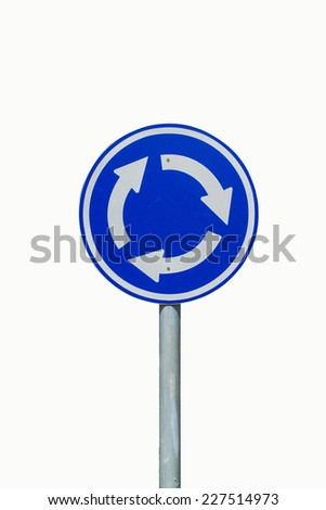 Roundabout crossroad road traffic sign  isolated on white background - stock photo