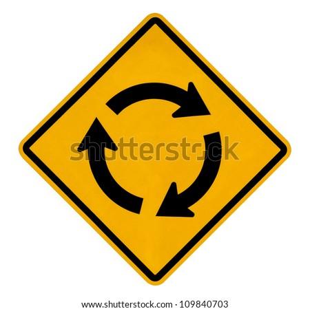 Roundabout sign on white background - stock photo