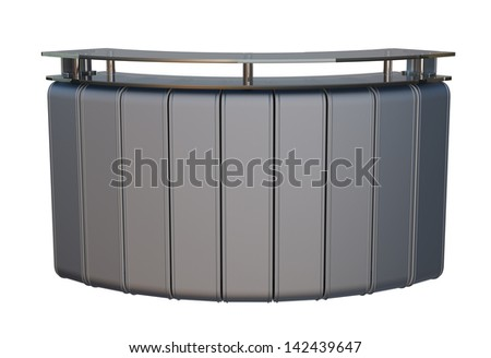 rounded reception counter made of many modules - stock photo