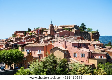 "Roussillon ocher village (included in the list of ""The most beautiful villages of France""). Provence Alpes Cote d'Azur, France. - stock photo"