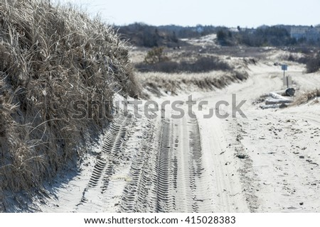 Route across sand dunes on Cape Cod requires four-wheel drive - stock photo