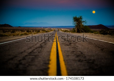 Route 66 by night - stock photo