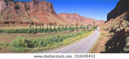 Route 128, Colorado River, View of a Butte - stock photo