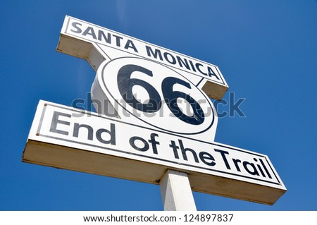 Route 66 end of the Trail sign in Santa Monica (California) - stock photo