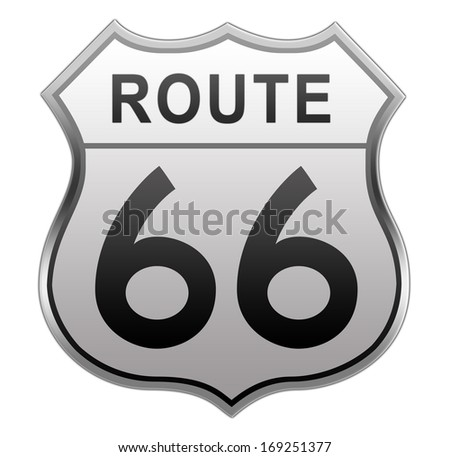 Route 66 glossy Road Sign isolated on white background. - stock photo