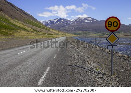 Route 1 or the Ring Road with the speed limit in north-west Iceland between Varmahlid and Bakki - stock photo