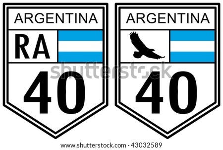 Route 40 road sign located in Argentina - stock photo