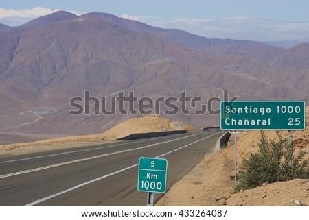 Route 5 through the Atacama desert in Chile, 1,000 kilometres north of Santiago. - stock photo