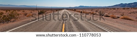 Route 66 to Joshua Tree National Park, California, USA - stock photo