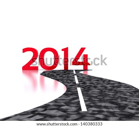 Route to the New Year 2014 - stock photo