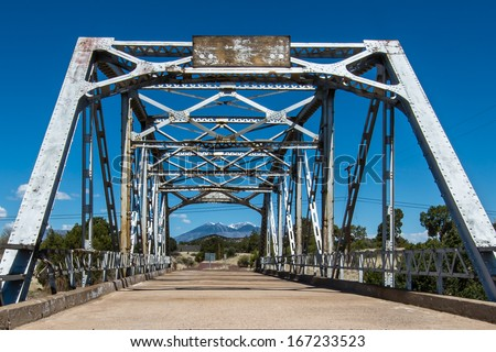 Route 66: Walnut Creek Bridge, Mt. Taylor, Winona, AZ. National Register of Historic Places; built in the 1920s. - stock photo