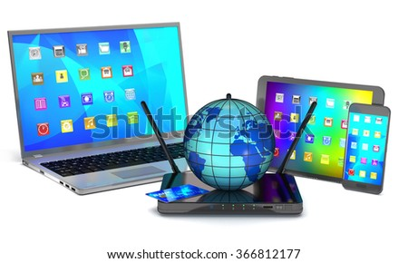 Router, laptop, smartphone, tablet and globe on white background - stock photo