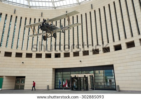 ROVERETO, ITALY - JULY 23, 2015: Mart Museum entance and dome. The Museum of Modern and Contemporary Art of Trento and Rovereto (MART) contains mostly modern and contemporary artworks. - stock photo