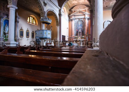 ROVINJ, CROATIA - APRIL, 17: Interior of the church of the Nativity of the Blessed Virgin Mary on April 17, 2016 - stock photo