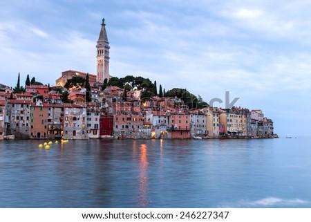 Rovinj old town in Adriatic  sea coast of Croatia, Europe - stock photo