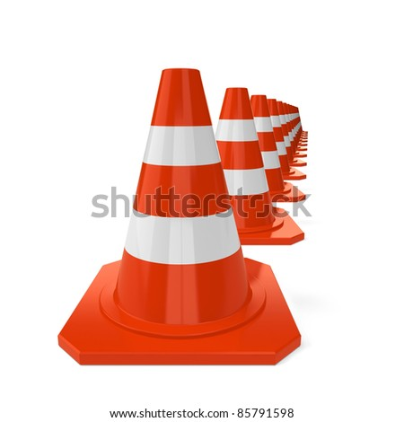 Row from orange traffic cones isolated on a white background - stock photo