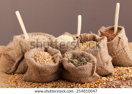 Row healthy grain food (corn, sesame, flax, buckwheat, wheat, pumpkin seeds, sunflower seeds ) in jute sack with wooden spoon  - stock photo