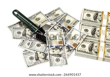 Row money with shovel - isolated on white background, American moneys of hundred dollar with shovel - stock photo