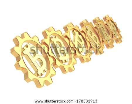 Row of a golden gears with a bitcoin peer-to-peer crypto currency sign inside, isolated over white background - stock photo