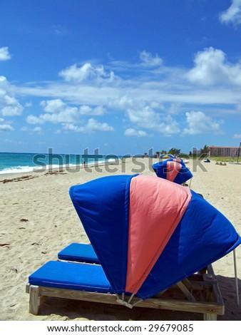 Row of Beach chairs - stock photo