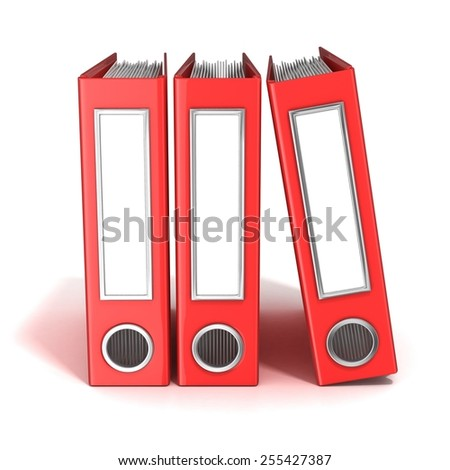 Row of binders, red office folders. 3D render illustration isolated on white background - stock photo
