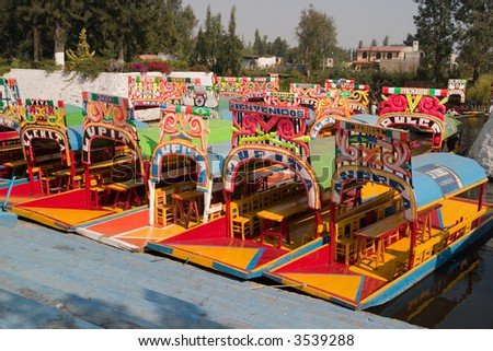 Row of boats in Xochimilco, Mexico city - stock photo