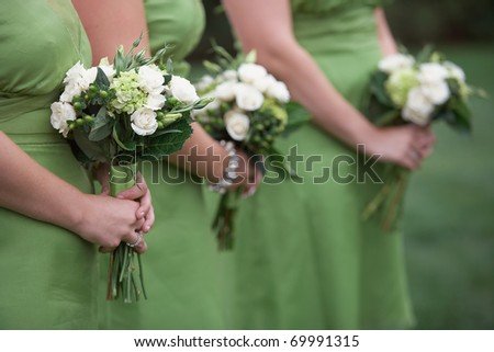 Row of bridesmaids holding green bouquets at wedding - stock photo