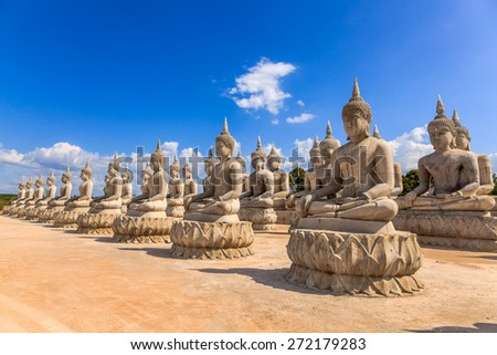 Row of Buddha statue in south Thailand - stock photo