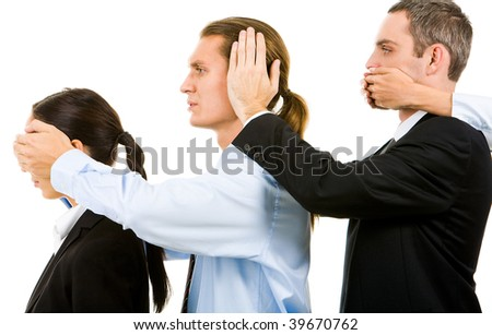 Row of business partners closing eyes, mouth and ears of each other - stock photo